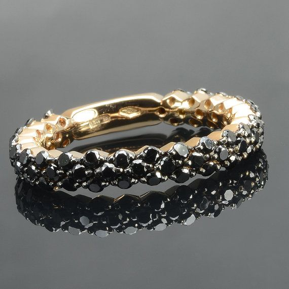 Ring in 18 kt rose gold with natural brilliant-cut black diamonds of 1,14 ct. The #ring is available in yellow gold, white gold but you can also customize carats, quality, and color of #gemstones. All our #jewelry are made in italy. Contact us for any particular request.