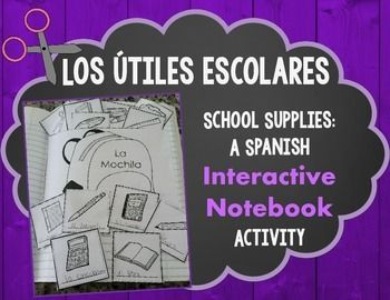 Learn and practice school supplies in Spanish with this  interactive notebook resource. . This works well for a beginning Spanish class or bilingual class. This set includes the following pages:**Assembly Photo Page.**Vocabulary list of school supplies in Spanish. (2 per page)**Backpack pocket template for storing the school supplies.**Pictures of school supplies where students add the Spanish word below the picture.**Pictures of school supplies to add to the backpack.**School supply…