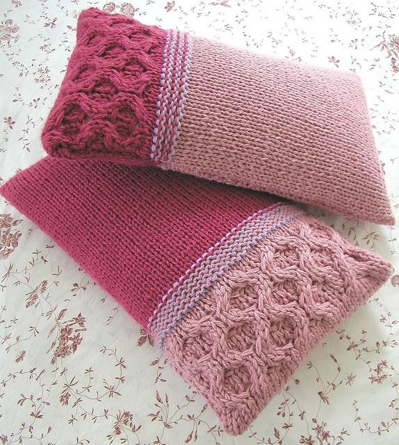 Raspberry Milkshake Cushions by Hand Knitted Things, via Flickr