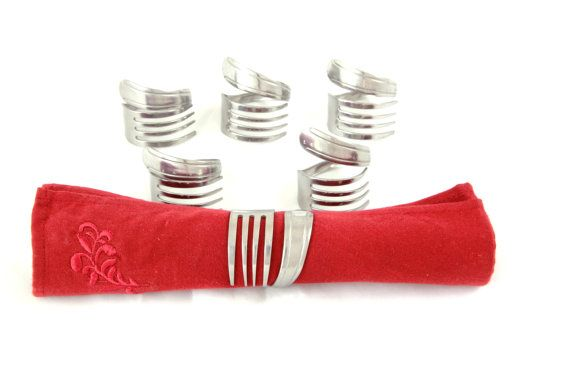 Napkin Rings 6 piece set by ForkedUpArt on Etsy, $14.99