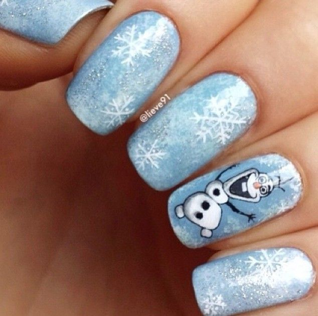 2017 Frozen Olaf Glitter Nails Snowflake Bling Körömdivat Pinterest And