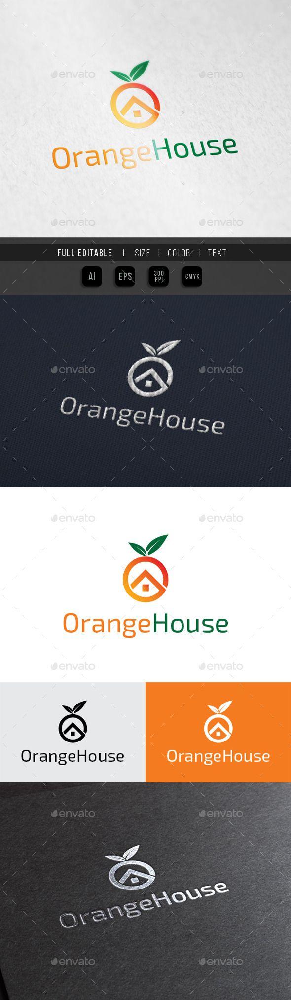 Orange House Fruit Juice shop Logo Design Template Vector #logotype Download it here:  http://graphicriver.net/item/orange-house-fruit-juice-shop/10023208?s_rank=1489?ref=nesto