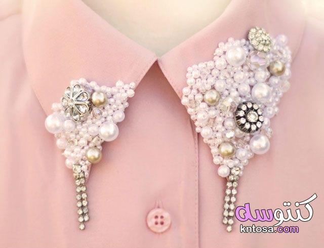 بالصور اعادة تدوير الملابس القديمة Collars Diy Embellished Collar Pearls Diy