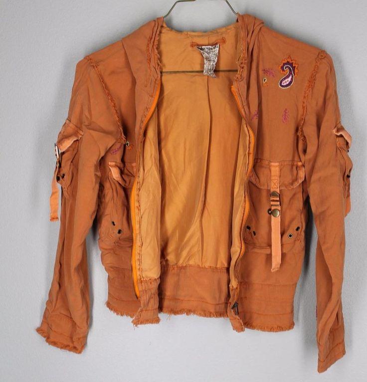 Boutique Da-Nang Girls M 12 Silk Military Cargo Koi Orange Zip Up Hoodie Jacket