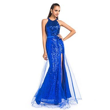 bainha / coluna jóia do assoalho-comprimento de lantejoulas e tule vestido de noite / baile com frente dividida – BRL R$ 326,97