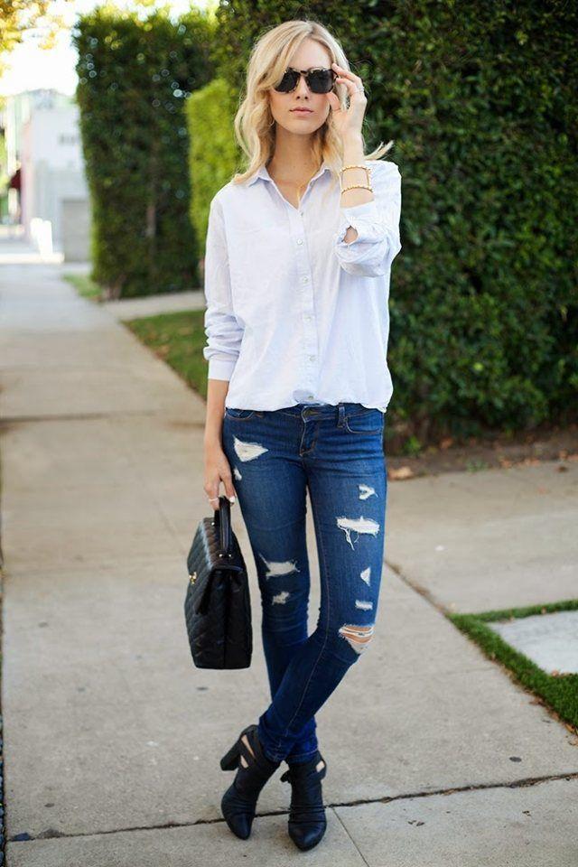 Tenue femme 2015 d 39 automne id es inspirantes talons noirs jeans bleus et chemises blanches - Tenue d automne ...