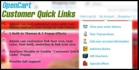 awesome Download opencart customer quick links