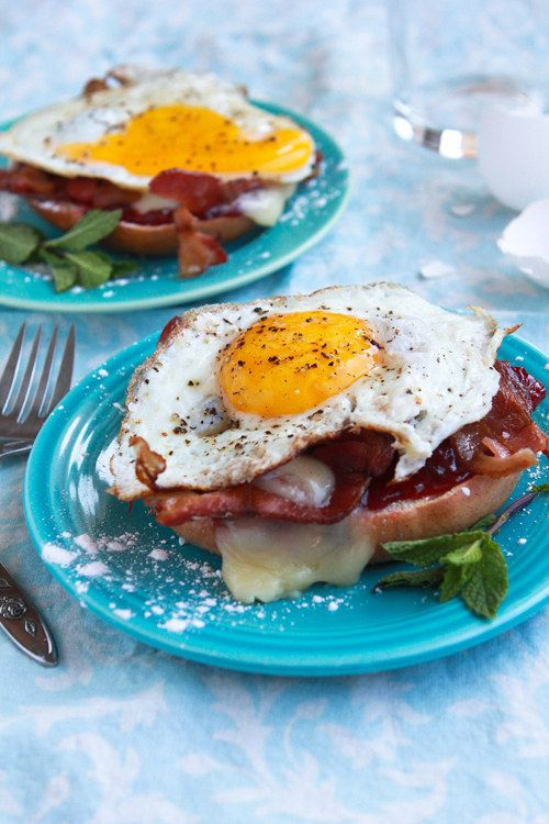 Open-Face Monte Cristo Bagel Sandwich