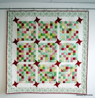 """68-1/2"""" x 68-1/2"""" Christmas quilt Machine quilted,  not washed yet, so it will crinkle up more when you do launder it"""