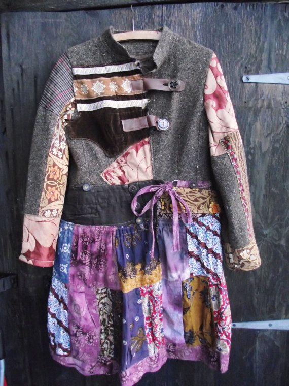 SALE --- Brown wool and cotton COAT jacket woodland fairy boho patchwork ethnic romantic upcycled recycled eco Highland FAIRY on Etsy, $113.28