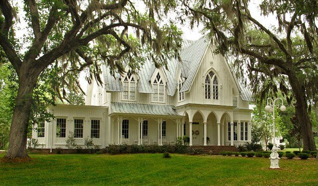 Minutes from Savannah, Hilton Head and Beaufort,1858 Gothic Revival Plantation House in Bluffton, South Carolina. The South's most beautiful plantation house for filming or photography venues.