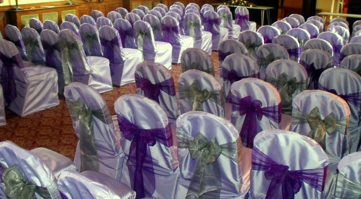 Alternating Cadburys Purple and Dark Silver Bows on Lilac Chair Covers