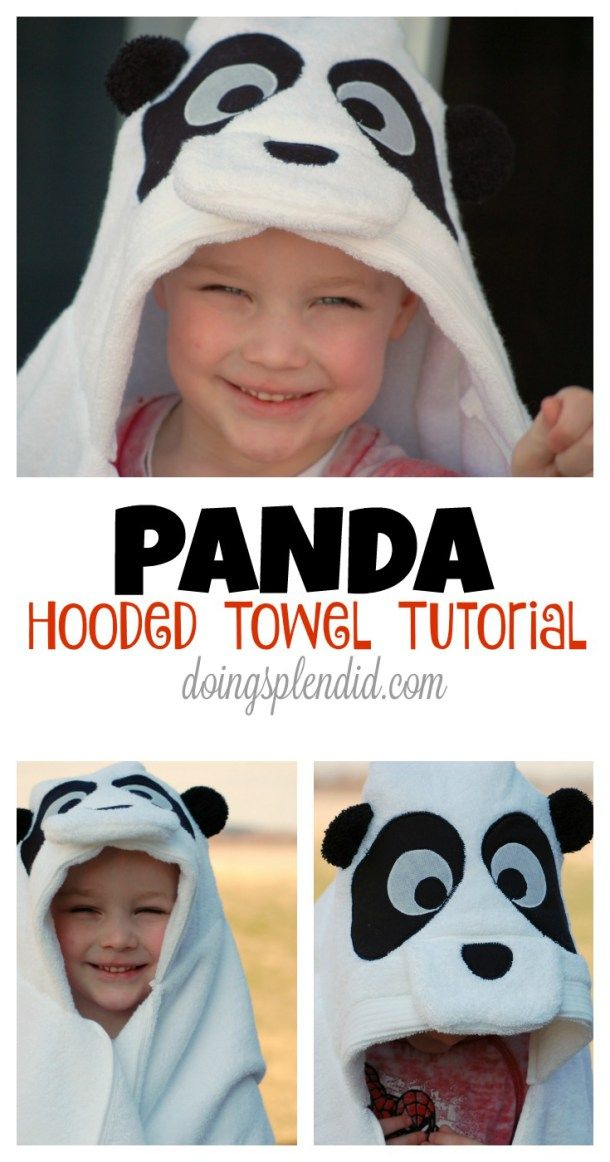 This Panda Hooded Towel is so cute, easy to make, and is a great gift for little ones. A complete step-by-step tutorial to create your own Panda Hooded Towel. FREE pattern included! :)