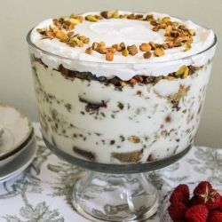 Watergate Trifle. Dense pistachio cake with homemade pistachio pudding. Very decadent.