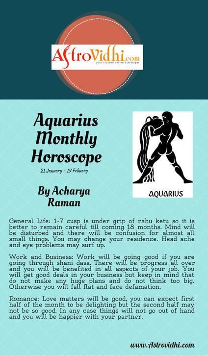 Get your Aquarius Monthly horoscope and Aquarius love, career and business horoscope.