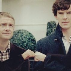 Martin Freeman and Benedict Cumberbatch. Co-stars in Sherlock (Watson and Sherlock) and the Hobbit (Bilbo Baggins and Smaug)