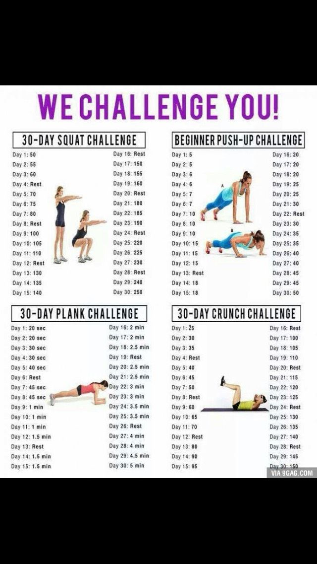 30 Day Challenges;Of course these two wouldn't be done at the same time. I plan on doing these a month at a time. My goal is a full year of 30 day workouts personally.On the last one, I plan to spread them out over three separate months. So I'm going to do my normal workout and add the challenge one in. And remember, WATER AND LISTEN TO YOUR BODY.