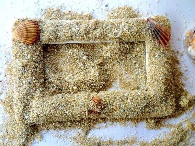 Manualidades con arena: fotos ideas DIY - Marco de arena