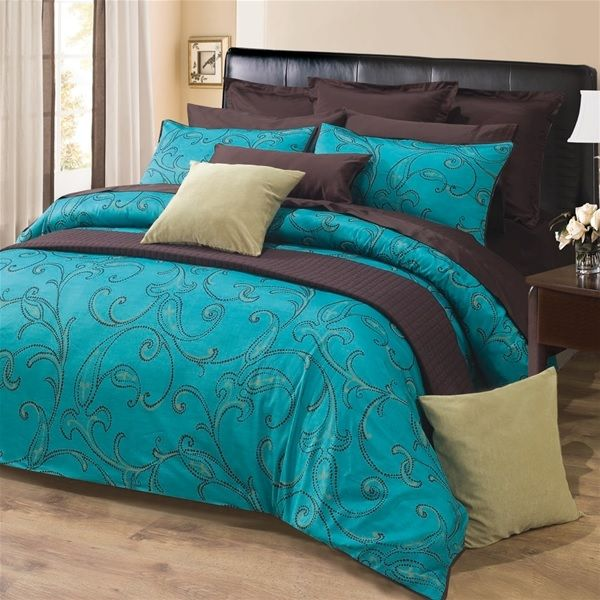 Sultan Rich Turquoise with Paisley Motif in Dark Espresso Brown Duvet Cover Sets by Daniadown