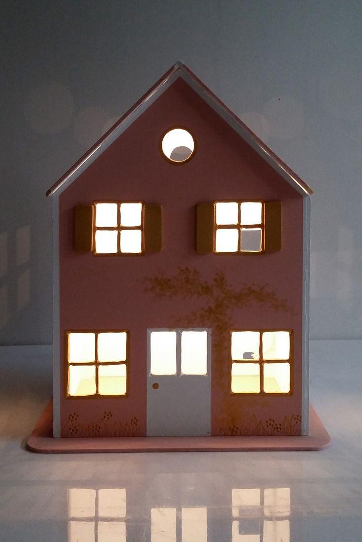Maisonnette veilleuse en bois, pour chambre d'enfant. eclairage ...
