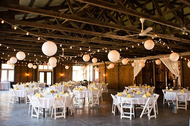 Cheap, simple yet lovely way to light a barn wedding reception!
