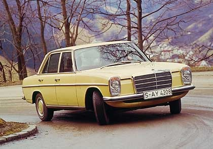 Yellow 1974 Mercedes 240D, had one, loved it, drove it to death plus a little
