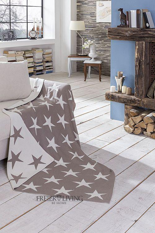 Kuscheldecke Sofa Decke Grau Stern French Shabby Chic Star Impressionen Deko NEU | eBay