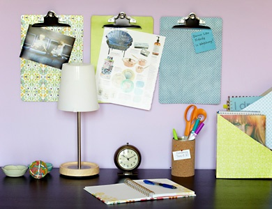 Repurposed Desk Organizers    After some crafty handiwork, once forgotten cereal boxes, soup cans and clipboards become chic desk storage. Get DIY desk organizer tutorials>>