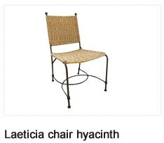 Laeticia Chair- Natural Water Hyacinth Look. Patio Furniture. Outdoor Furniture, Aluminum & Polycane.