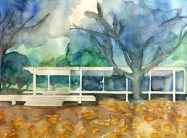 Casa farnsworth ludwig mies van der rohe 1951 croquis for Croquis de casas