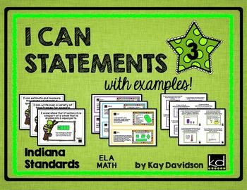 Indiana Standards WITH EXAMPLES for each one in Math and ELA!  Standards are simplified and numberedand each one has a colorful example.  There are three sizes:  full page posters, half page strips, and quarter page minis.  There are three different designs to choose from.