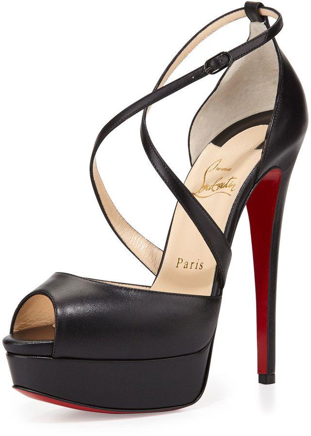 Christian Louboutin Cross Me Platform Red Sole Sandal, Black  | ≼❃≽ @kimludcom