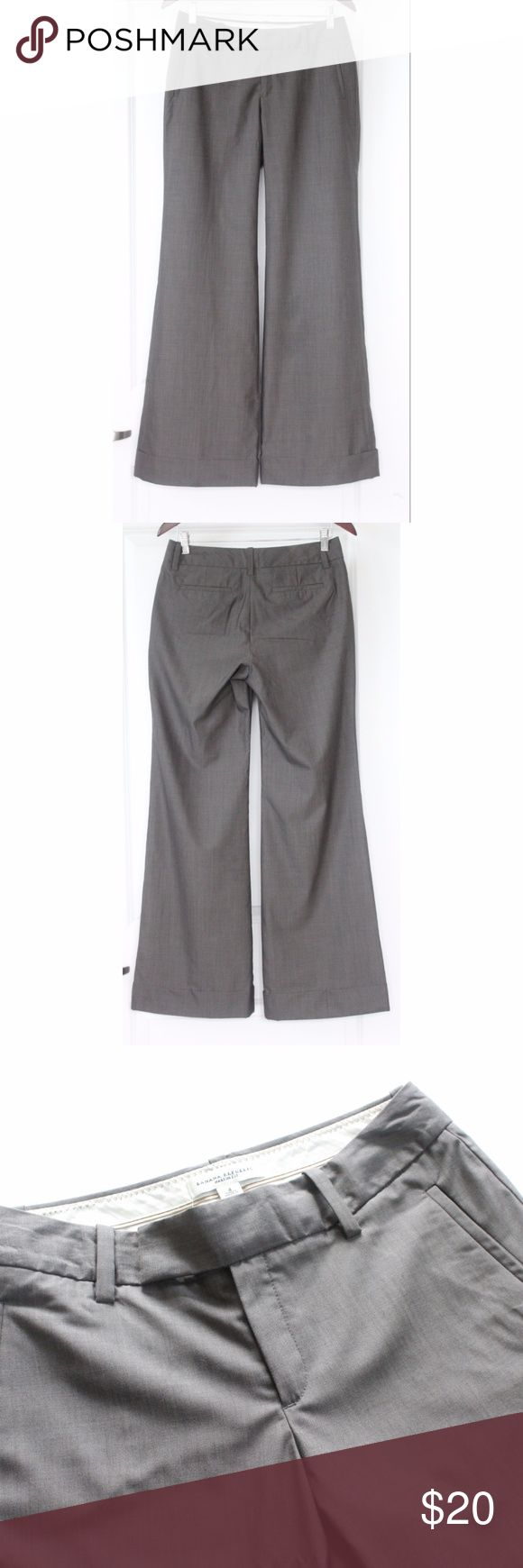"""BANANA REPUBLIC Martin Fit Wool Dress Pants Size 4 BANANA REPUBLIC Martin Fit Wool Dress Pants Size 4 Gray Stretch Women's Trouser Great Condition! Clean- no tears or stains noted. Small area of piling on front. Pics show accuracy of condition! From a pet & smoke free home  Measurements (approx):  inseam 33"""" waist 30"""" hips 36"""" Banana Republic Pants Wide Leg"""