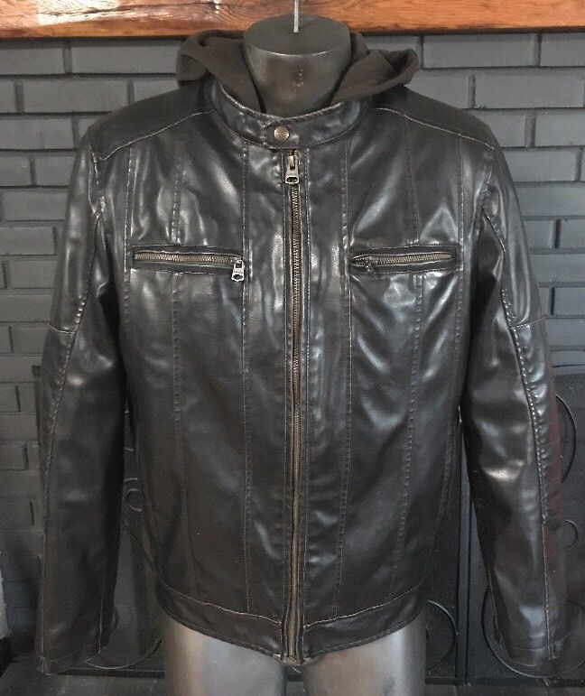 Levi'sFaux Leather Fur Lined Brown Hooded Jacket Men's Size Small #Levis #Bomber