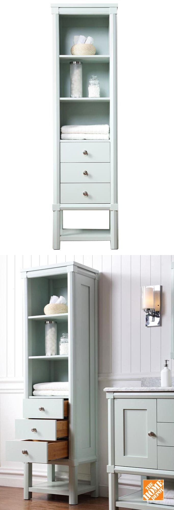 This bathroom side unit coordinates with the all items in the Sutton Bathroom collection, including the lovely vanity. This collection provides plenty of bathroom storage and fits especially well with a farmhouse or cottage style bathroom decor. This bathroom storage unit is one of The Home Depot's top-pinned products.