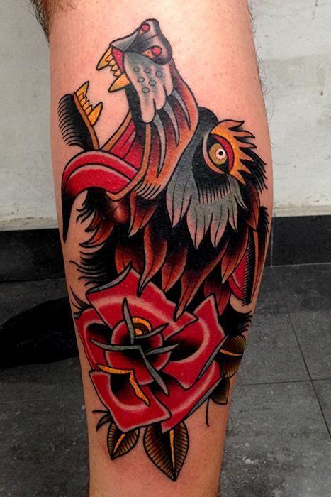 TattooNOW : Tattoos : Jonathan Montalvo : wolf rose tattoo