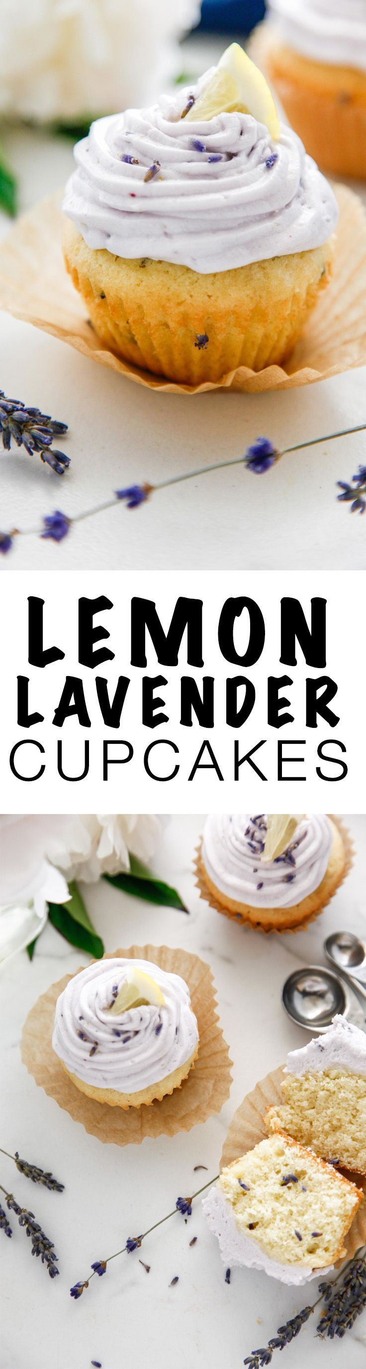 Celebrate summer baking with this Lemon Lavender Cupcake recipe! These sweet treats are some of my favorite desserts! via @thebrooklyncook
