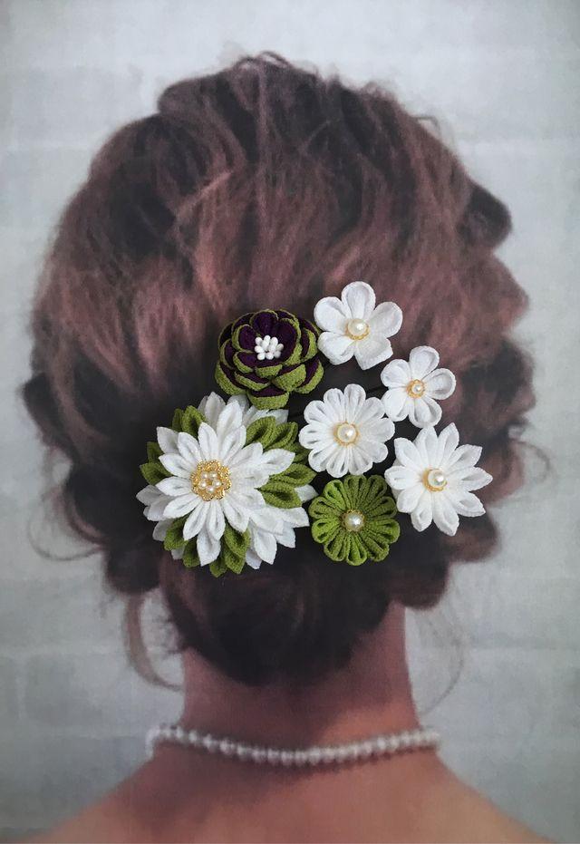 和モダン❇︎江戸紫×緑×白❇︎つまみ細工 髪飾り❇︎卒業式・成人式・袴