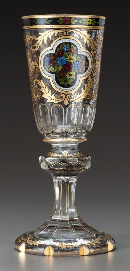 A BOHEMIAN PAINTED AND PARCEL-GILT GLASS GOBLET 20th century