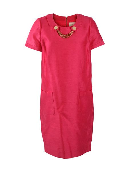 Kate Spade Pink Raw Silk Dress with Peter Pan Collar SZ8  #LoveThatCloset #Designer #Consignment #Sale #Dress #KateSpade