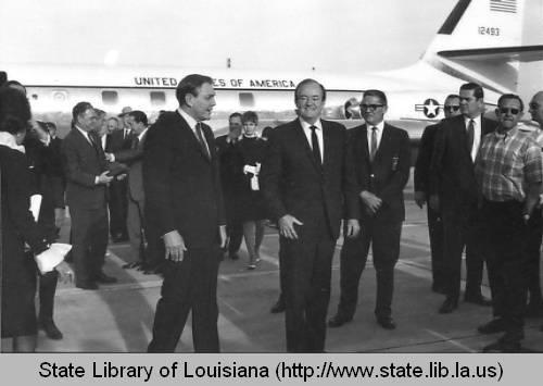 The Governor of LA, John J. McKeithen, meets Vice President Hubert Humphrey at the airport in Baton Rouge, Louisiana circa 1970.