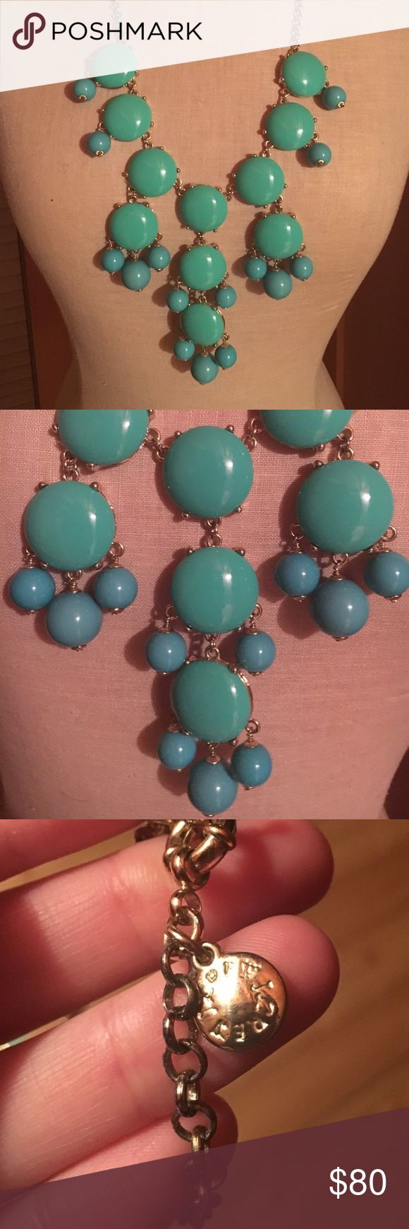 JCrew Turquoise Bubble Necklace The stunning, ORIGINAL bubble necklace by JCrew. Turquoise stones and plated with 18K gold. Worn once, excellent condition. Comes with original box. No trades please. J. Crew Jewelry Necklaces