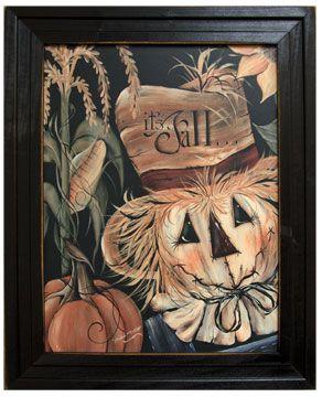 Primitive Scarecrow framed print. www.shabbyshedprimtives.com
