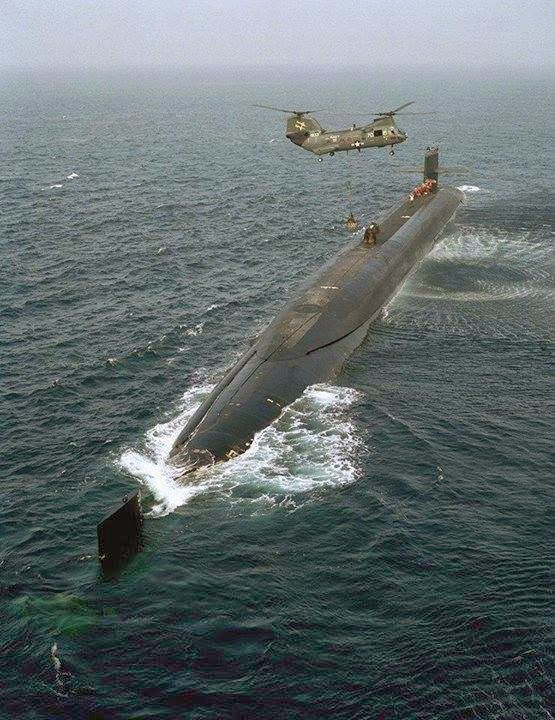 """Submarine US Navy...I could put this in """"The Nav"""" but figured I'd go here...there's nothing like an Unrep / Vertrep at sea, especially sub style, with a SH-46 helo.  Ah...Flight Quarters!"""