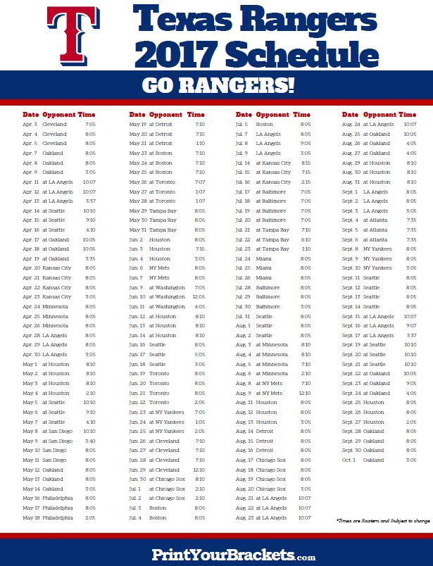 2017 Texas Rangers Schedule