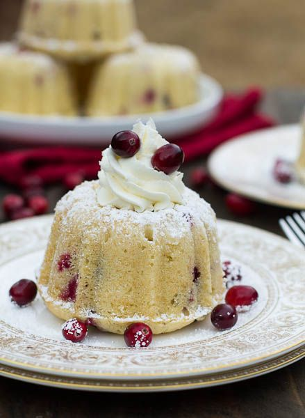 Mini Almond Cranberry Cakes with Mascarpone Frosting