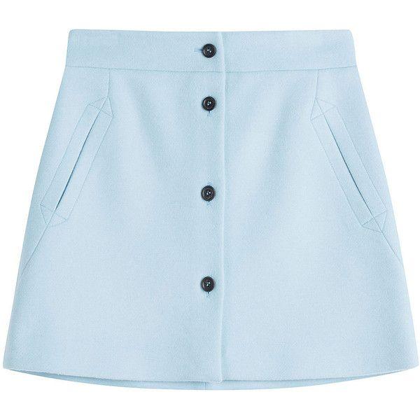 Paul & Joe Wool Mini Skirt featuring polyvore, women's fashion, clothing, skirts, mini skirts, bottoms, saias, teal, short skirts, wool mini skirt, wool skirt, retro skirts and a-line skirt
