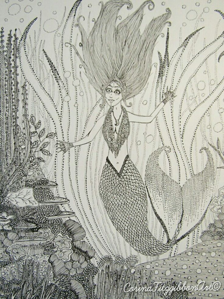 """""""Mermaid"""" Original pen and ink drawing. I've been dreaming about the ocean a lot lately!CorinaFitzgibbonArt© All Rights Reserved."""