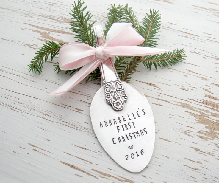 First Christmas 2016 spoon ornament - new baby - 1st christmas ornament - baby shower gift - 1 year old - hand stamped - your color - heart