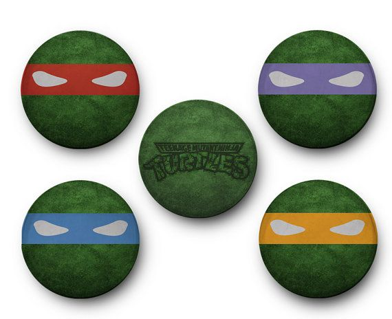 Teenage Muntant Ninja Turtles Inspired - Set of 5 Glass Magnets TMNT, leonardo, splinter, donatello, michelango, raphael, shredder, pizza
